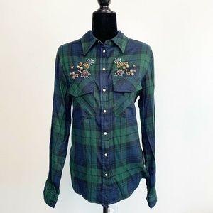 Zara Green Navy Blue Jewel Embellished Plaid Shirt